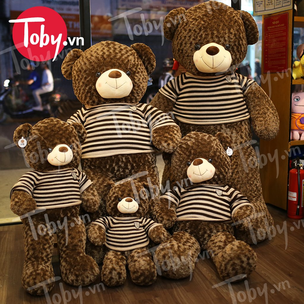 Gấu Teddy áo len Choco 90cm, 1m1, 1m4, 1m7, 2m
