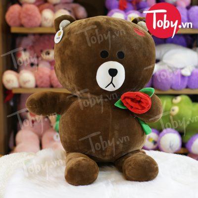 Gấu Bông Brown ôm hoa hồng