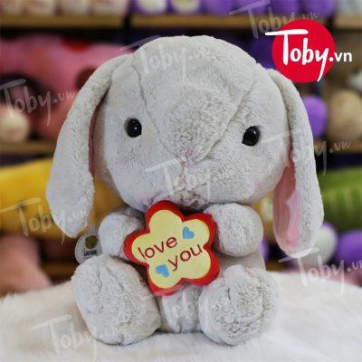 """Thỏ Bông ôm Hoa """"Love You"""""""