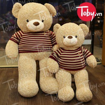 Gấu Bông Teddy áo len màu Cafe sữa