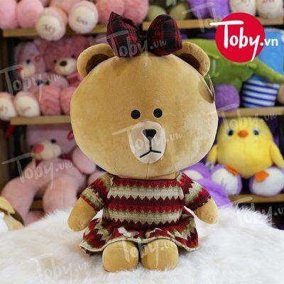 Gối mền Gấu Brown mặc váy