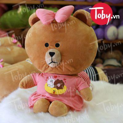 Gối mền Gấu Brown mặc đầm
