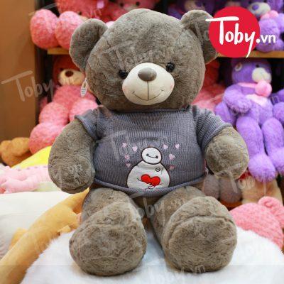 Gấu Teddy áo len Baymax - Xám