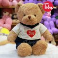 Gấu Teddy lông xù mặc áo thun Hug Me